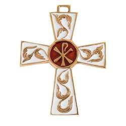 Croix en bronze avec chrisme - 9,3 cm