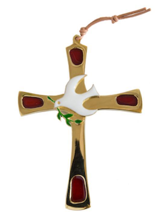 Bronzen kruis met duif - 11 cm