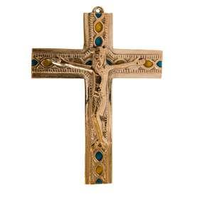 Crucifix en bronze avec Christ vivant - 14,2 cm