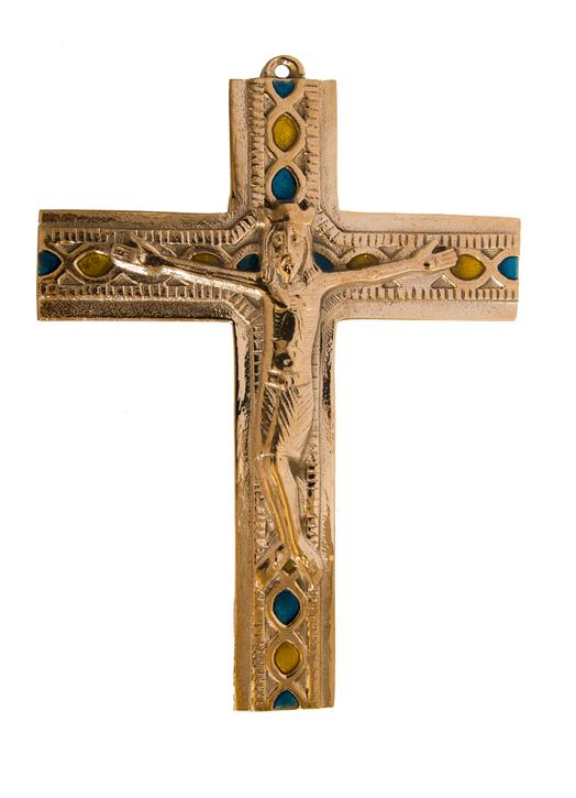 Crucifijo de bronce con Cristo vivo - 14.2 cm