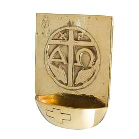 Bénitier en bronze avec chrisme - 55 ml (Vue de face)