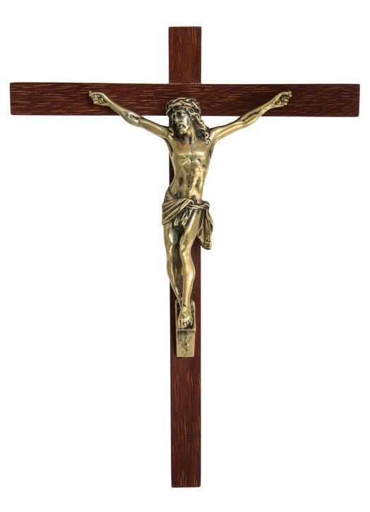 Crucifix en bronze sur bois éxotique - 22 cm
