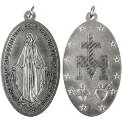 Miraculous medal, metal - 80 mm