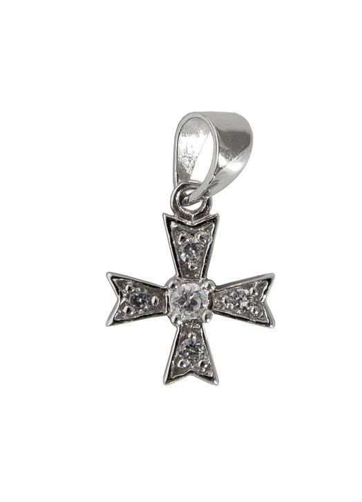 Croix-pendentif de Malte en argent rhodié avec strass