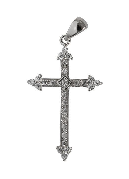 Fleur-de-lysée cross pendentive in rhodium silver with rhinestones