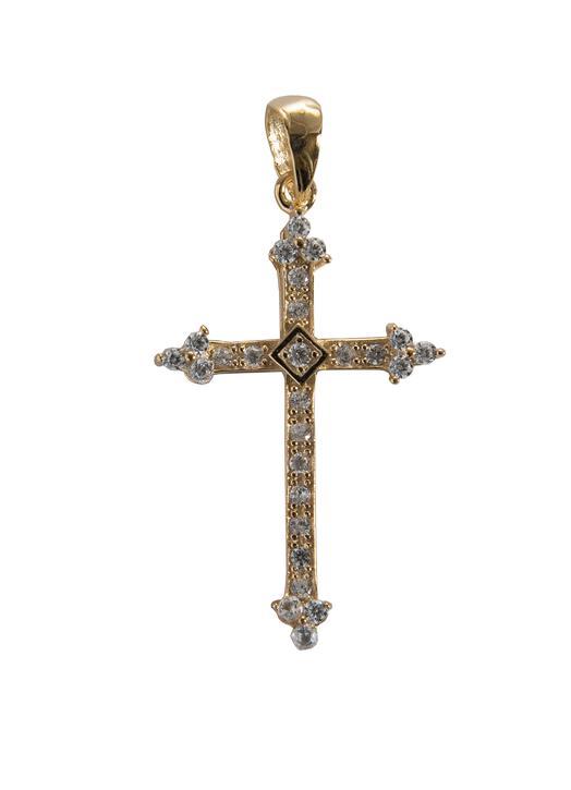 Croix-pendentif fleur-de-lysée en vermeil avec strass