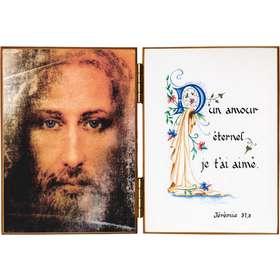 Gezicht van Jezus en een citaat uit Jeremias