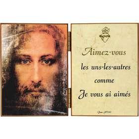 Gezicht van Jezus en citaat van de H.  Johannes