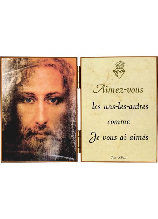 Visage de Jésus avec une citation de saint Jean