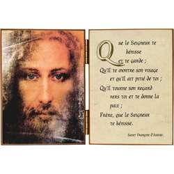 Visage de Jésus avec une prière de st François d'Assise