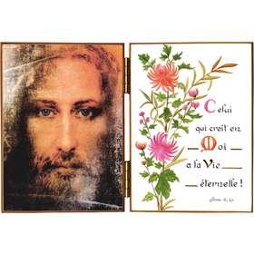 Gezicht van Jezus en citaat van de H.  Johannes VI, 47