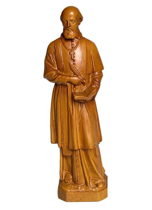 Statue de saint François de Sales en bois clair, 20 cm (Vue de face)