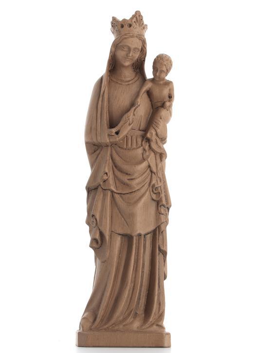 Standbeeld van De Maagd aan de vogel - houtkleur, 16 cm (Vue de face)