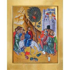 Icoon van de ingang van Jezus in Jeruzalem