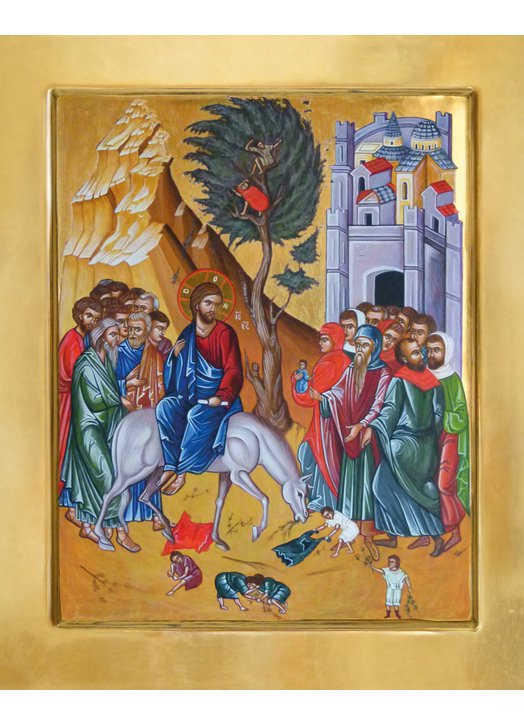 Icon of the entrance of Jesus in Jerusalem