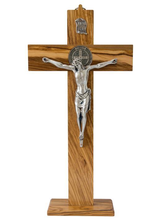 Kruisbeeld van St Benedictus - olijvenhout, 40 cm (Le crucifix - vue de face)