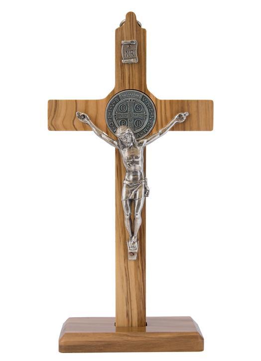 Crucifix de Saint Benoît - bois d'olivier, 16 cm (Le crucifix - vue de face)