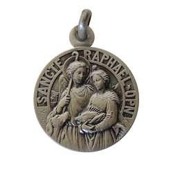 Médaille de saint Raphaël 18mm, argent massif