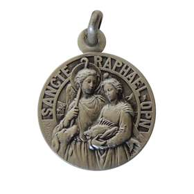 Medal of Saint Raphaël 18mm, sterling silver