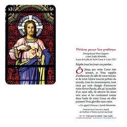 Vitrail du Sacré-Coeur avec prière pour les prêtres
