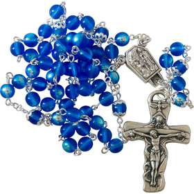 Our Lady of Lourdes rosary in Bohemian glass (Chapelet)