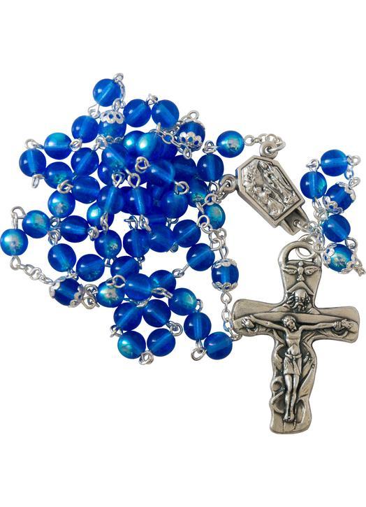 Rosario de la Virgen de Lourdes en vidrio de Bohemia (Chapelet)