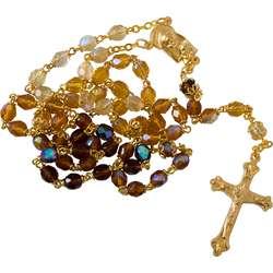 Boheemse glas en gouden metalen rozenkrans (Le chapelet)