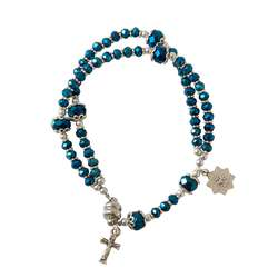 Bracelet chapelet de première communion, bleu nuit - avec fermeture magnétique
