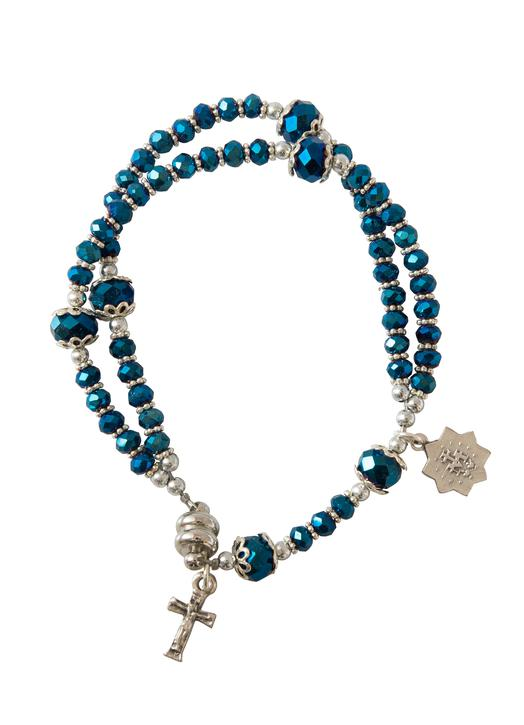 First Communion Rosary Bracelet, night blue - with Magnetic Closure
