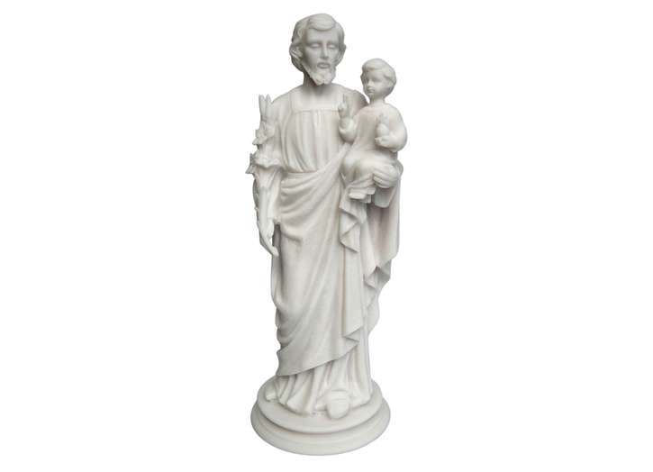 Statue of Saint Joseph end The Child Jesus, 38 cm Alabaster (Vue de face)