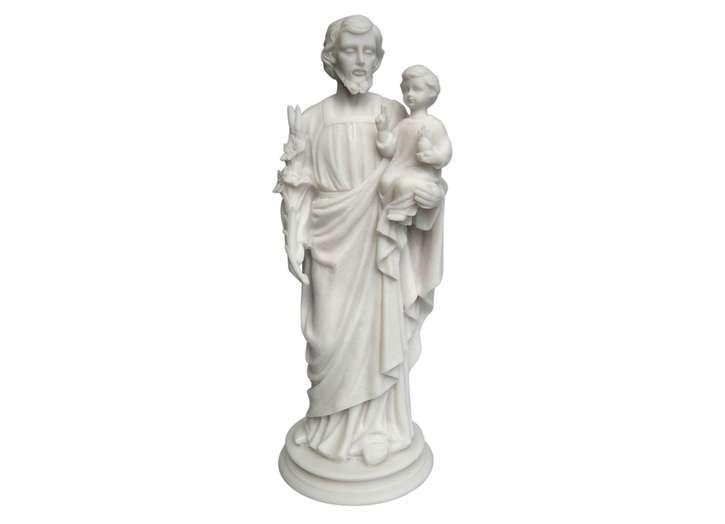 Statue de Saint Joseph avec l'Enfant-Jésus, 38 cm en albâtre (Vue de face)