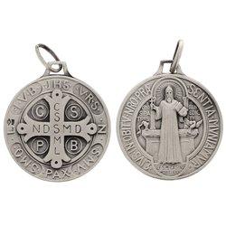 Médaille de Saint Benoît, argent massif - 23 mm