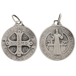 Saint Benedict medal sterling silver - 23 mm
