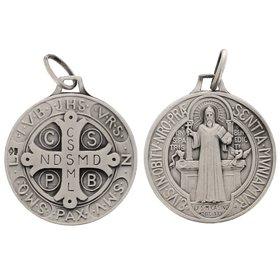 Medaille van hl. Bene, massief zilver - 23 mm