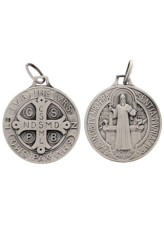 Medalla de San Benito plata maciza - 23 mm