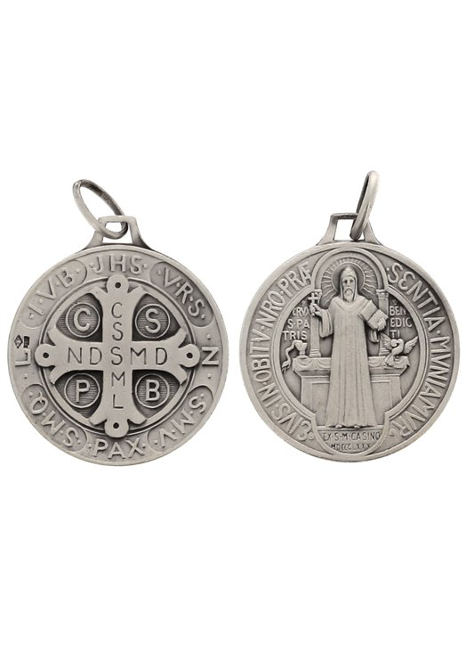 Saint Benedict medal sterling silver - 23 mm