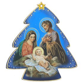 Nativity icon in the shape of fir tree, blue background