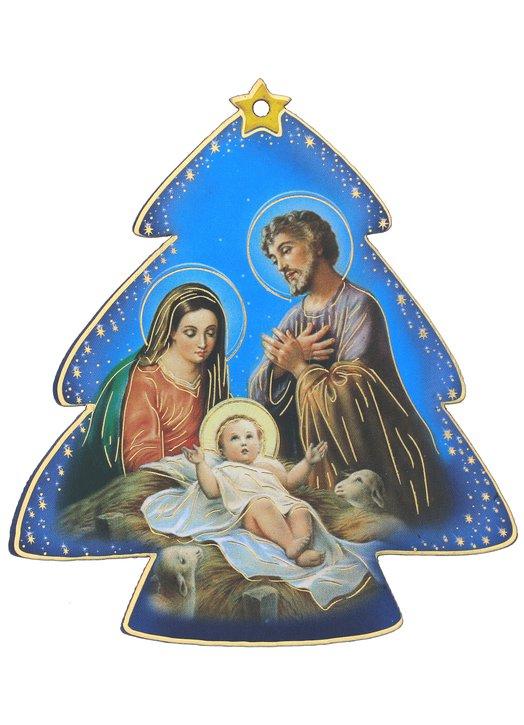 Icono de la natividad en forma de abeto, fondo azul