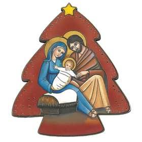 Icono de la natividad en forma de abeto, fondo rojo