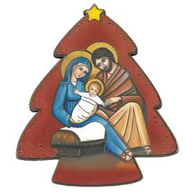 Nativity icon in the shape of fir tree, red background