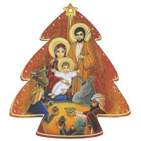 Decoración navideña, Belén con magos en forma de abeto