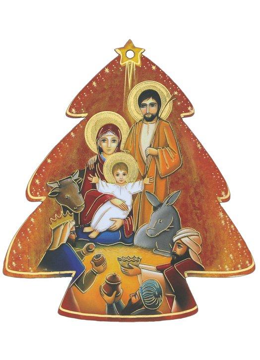 Décoration de Noël, crèche avec Mages en forme de sapin