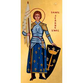 Icon of Saint Joan of Arc with coat of arms