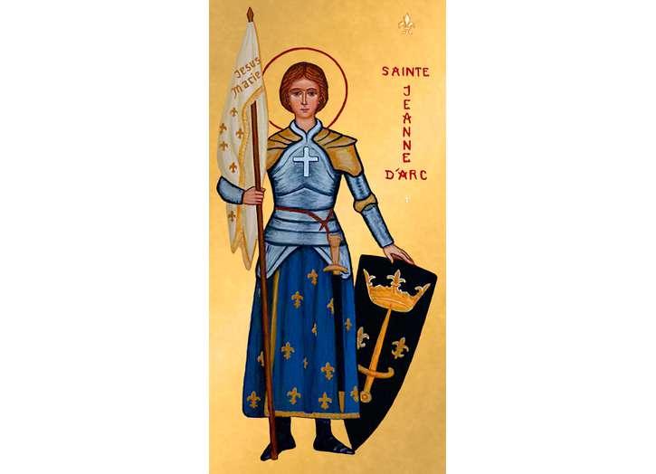Icono de Santa Juana de Arco con escudo