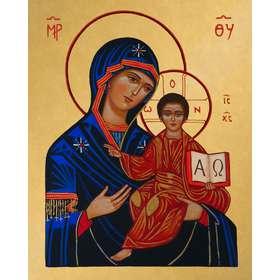Icono de la Virgen María con elAlfa y Omega