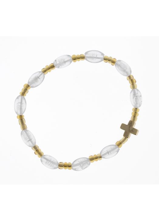 decennium armband met elastiek - transparant parelmoer en goud metaal
