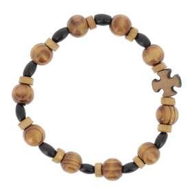 Pulsera de decenas con elástico - perla de madera