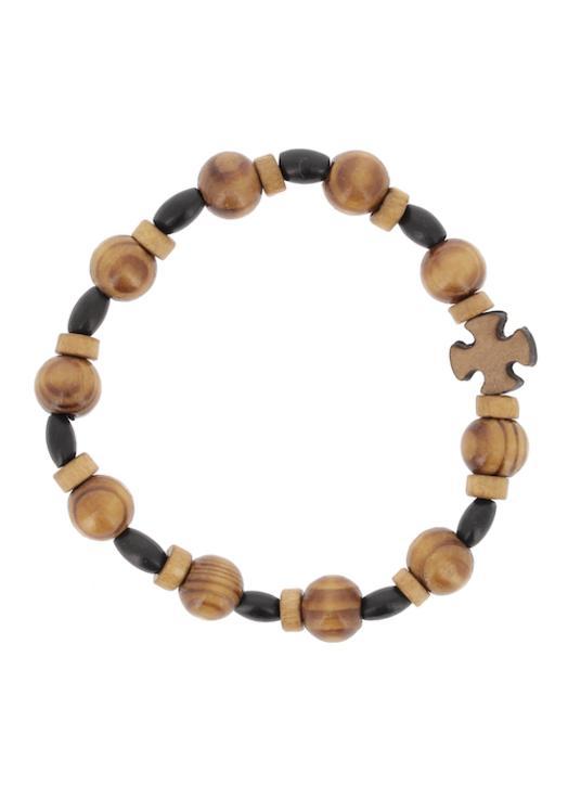 Tens bracelet with elastic - wooden pearl