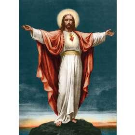 Icono del Sagrado Corazón, brazos extendidos, en color