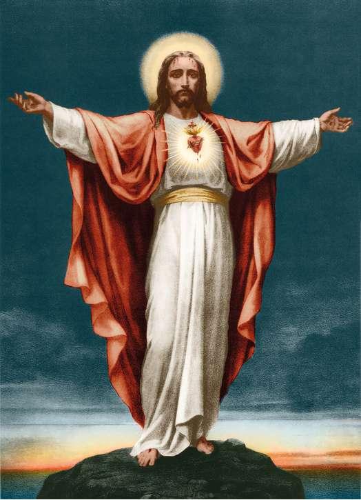Icône du Sacré-Coeur, bras étendus, en couleur